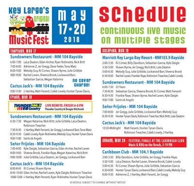 schedule key largo original music festival